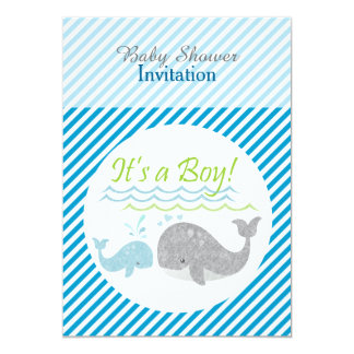 Blue Whale Blue Striped Baby Shower Invitation