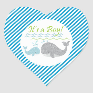 Blue Whale Blue Striped Baby Shower Stickers