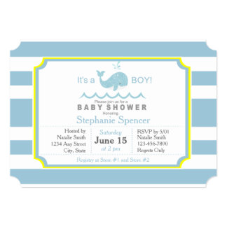 Blue Whale Boy Baby Shower Invitation