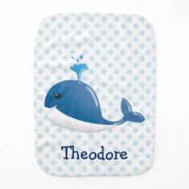 Blue whale burp cloth with stars