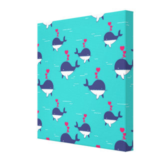 Blue Whale Design With Hearts Canvas Print