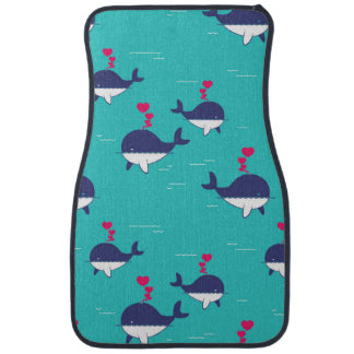 Blue Whale Design With Hearts Car Mat