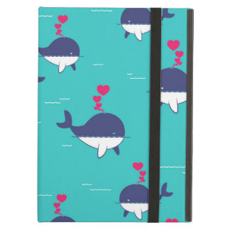 Blue Whale Design With Hearts iPad Air Covers