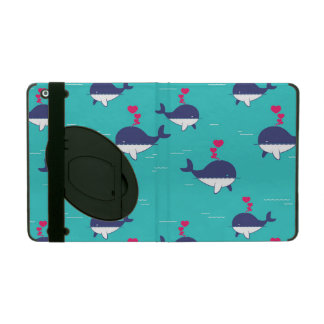 Blue Whale Design With Hearts iPad Cases
