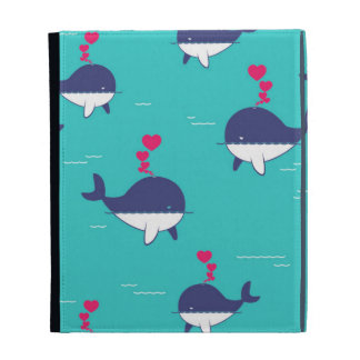 Blue Whale Design With Hearts iPad Folio Cases