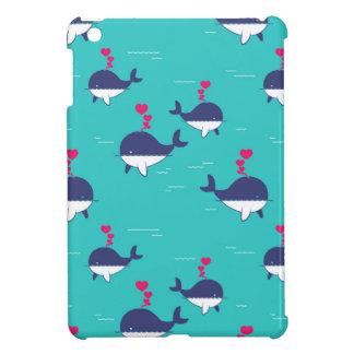 Blue Whale Design With Hearts iPad Mini Cover