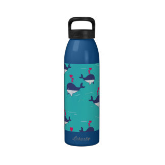 Blue Whale Design With Hearts Drinking Bottle