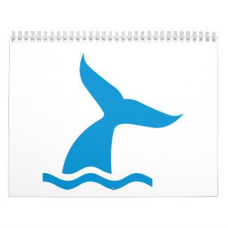 Blue whale fin wall calendar