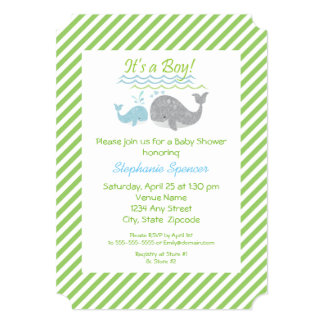 Blue Whale Green Striped Baby Shower Invitation