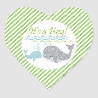 Blue Whale Green Striped Baby Shower Stickers