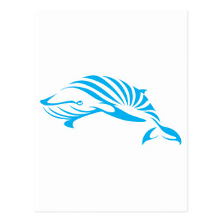 Blue Whale in Swish Drawing Style Post Card