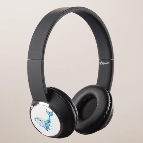 Blue whale in watercolors headphones