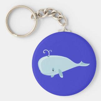 Blue Whale Basic Round Button Keychain