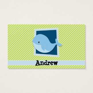 Blue Whale; Lime Green & White Stripes Business Card