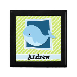 Blue Whale; Lime Green & White Stripes Gift Boxes