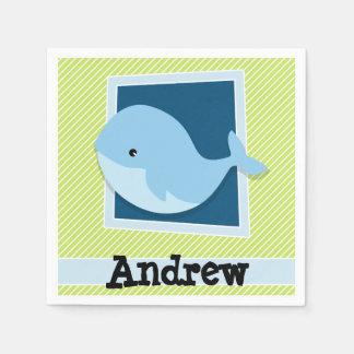 Blue Whale; Lime Green & White Stripes Paper Napkin