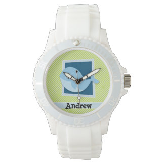 Blue Whale; Lime Green & White Stripes Watch