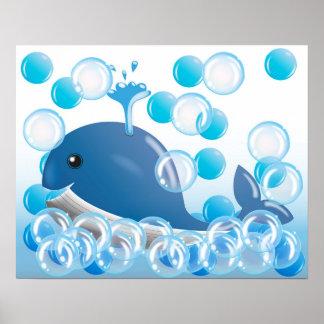 Blue whale nursery wall art