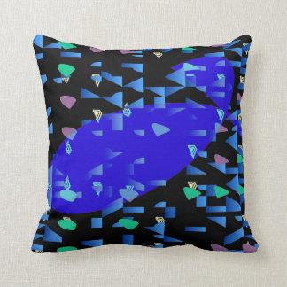 Blue Whale on Black Pattern Pillow