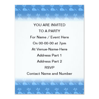 Blue Whale Pattern. 4.25x5.5 Paper Invitation Card