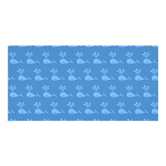 Blue Whale Pattern Photo Greeting Card