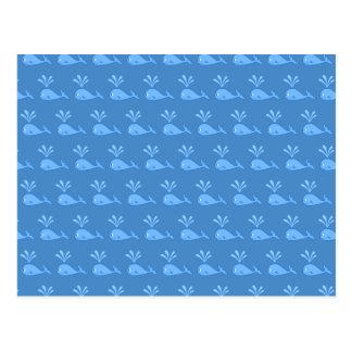 Blue Whale Pattern. Postcard