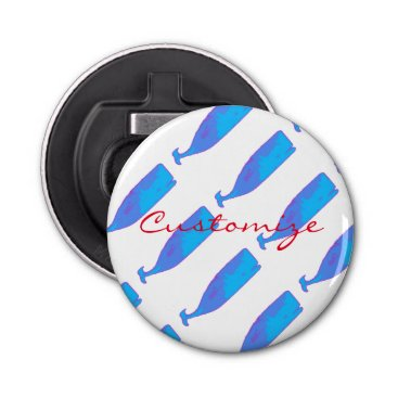Beach Themed blue whale pod on any color bottle opener