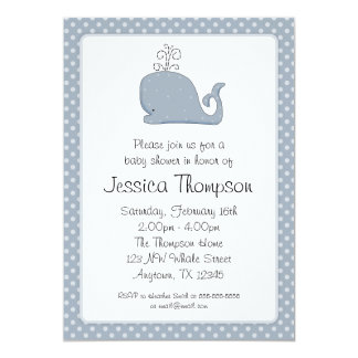 Blue Whale Polka Dots Boy Baby Shower 5x7 Paper Invitation Card