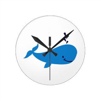 Blue whale round clock