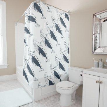 Beach Themed Blue Whale shower curtain by idyl-wyld