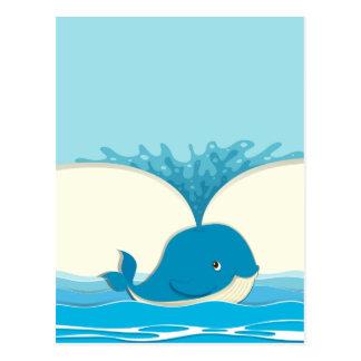 Blue whale splashing water postcard