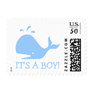 Blue whale stamps for baby shower invitations