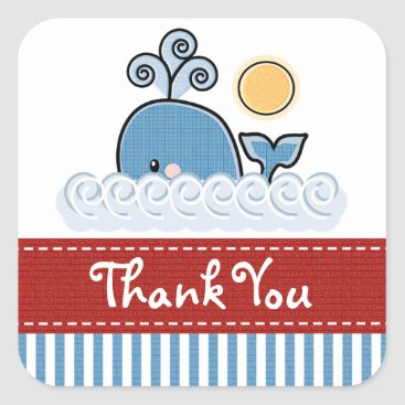 Beach Themed Blue Whale Thank You Stickers