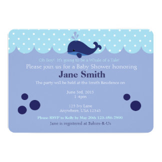 Blue Whale Themed Baby Boy Shower Invitatio 5x7 Paper Invitation Card