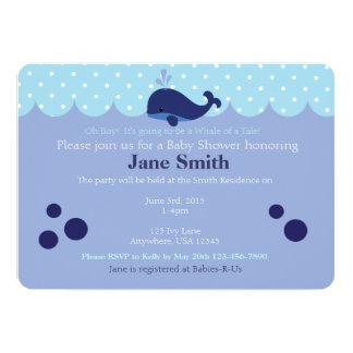Blue Whale Themed Baby Boy Shower Invitatio Card