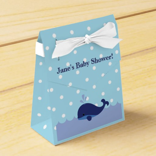 Favour Boxes Baby Blue : Blue whale themed boy baby shower favor box party