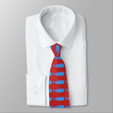 Beach Themed blue whale Thunder_Cove red Neck Tie