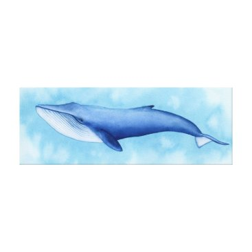 Art Themed Blue Whale Watercolor Canvas Print