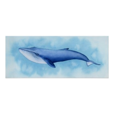 Art Themed Blue Whale Watercolor Poster