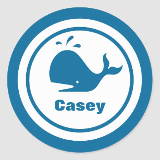 Blue Whale with Name Round Stickers
