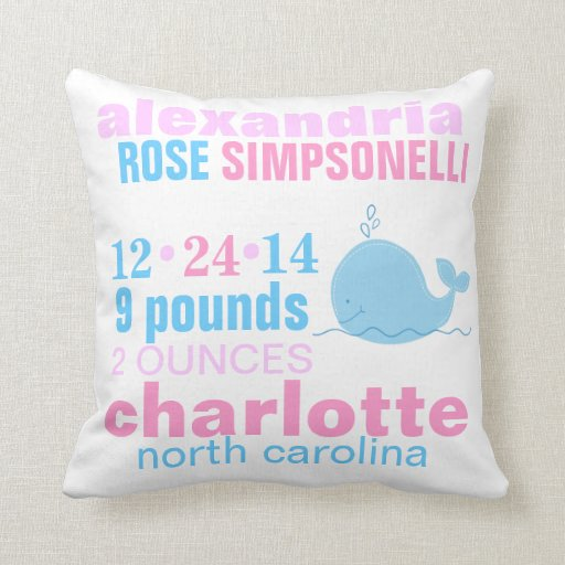 Blue Whale with Pink Zig Zag Birth Announcement Throw Pillow
