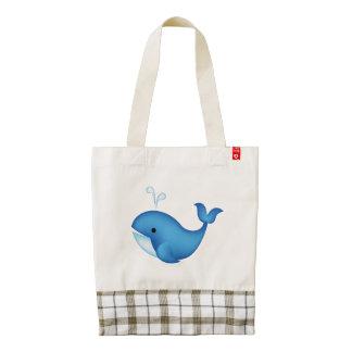 Blue whale zazzle HEART tote bag