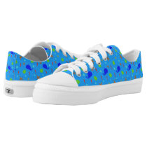 Blue Whales and Ocean Theme Pattern Low-Top Sneakers