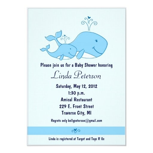 Blue Whales Baby Shower Invitations