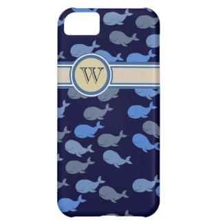 blue whales custom monogram iPhone 5C cover