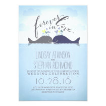 Blue Whales Cute and Romantic Nautical Wedding Invitation