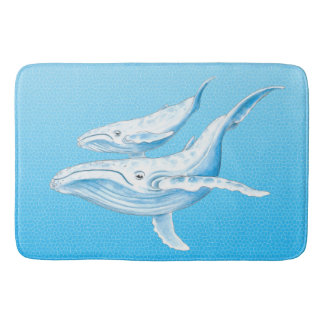 Blue Whales Family Bathroom Mat