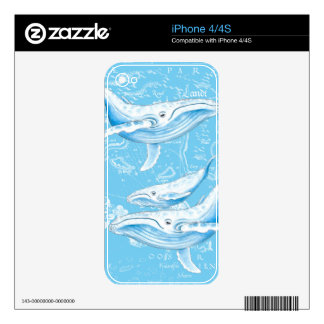 Blue Whales Family Decal For iPhone 4S