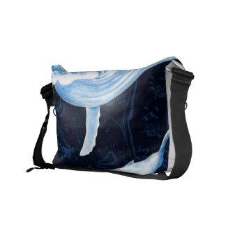 Blue Whales Family Indigo Messenger Bag