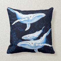 Blue Whales Family Indigo Throw Pillow